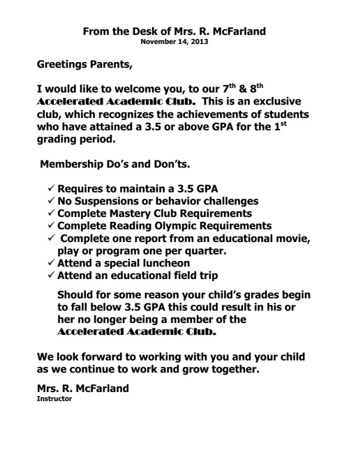 Accurated Club Letter