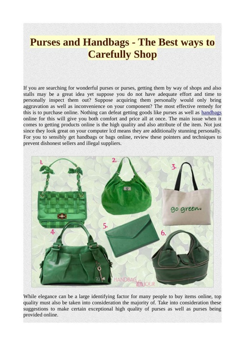 Purses and Handbags - The Best ways to Carefully Shop