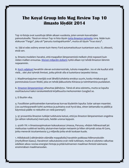 The Koyal Group Info Mag Review Top 10 ilmasto löydöt 2014