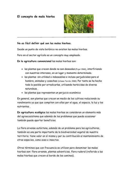 Malas hierbas  Conceptos generales