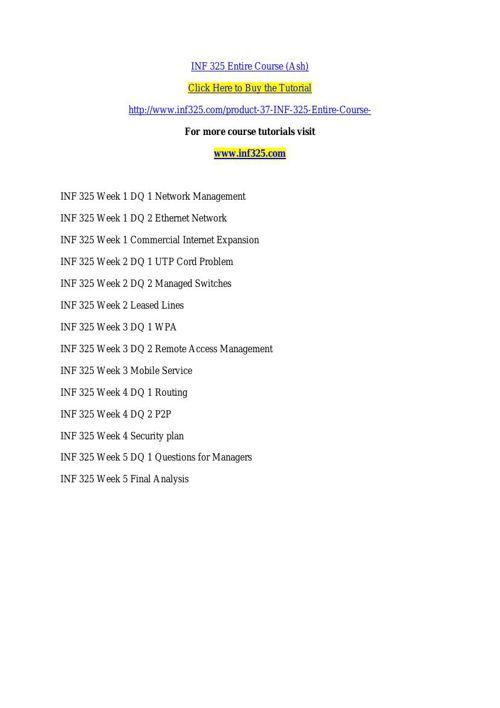 INF 325 Entire Course (Ash)