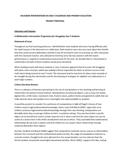 Project Proposal: Action Research