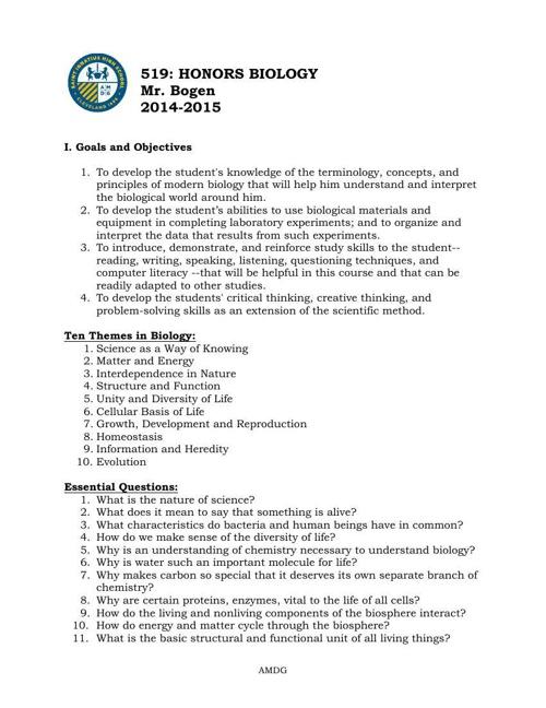 Honors Biology Course Description 14