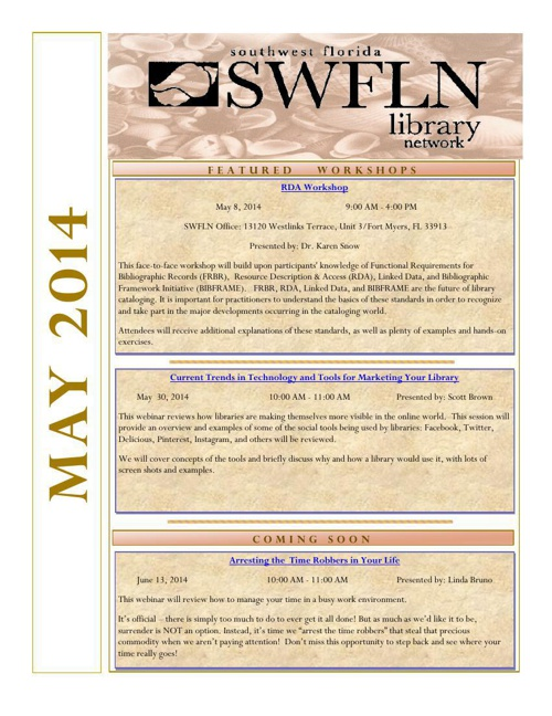 SWFLN May 2014 CE News