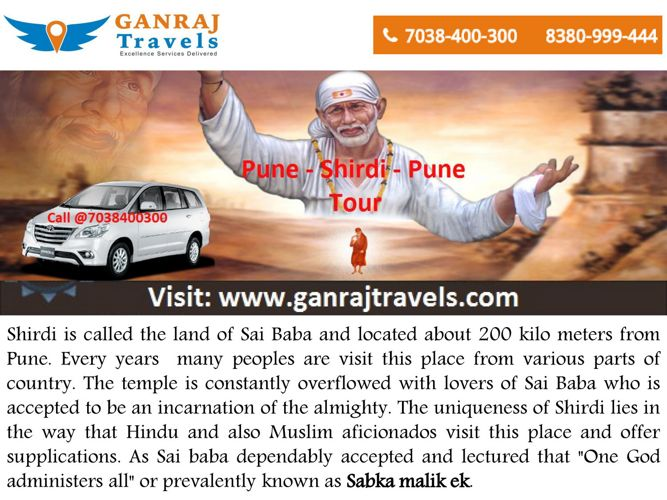Pune to Shirdi Taxi Service by Ganraj Travels