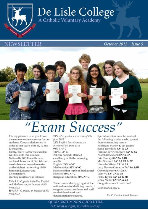 De Lisle College Newsletter Issue 5 October 2013