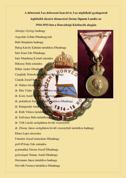 2-es honvéd huszárezred Bronz Signum laudissal kitüntettjei