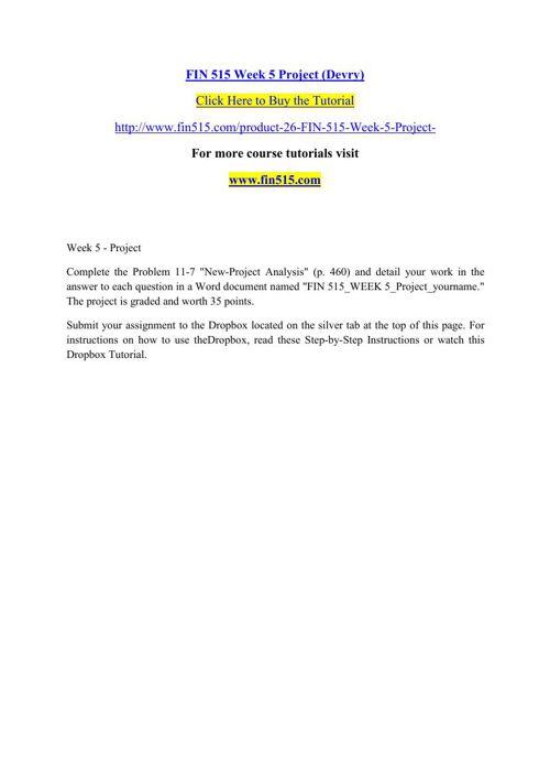 FIN 515 Week 5 Project (Devry)