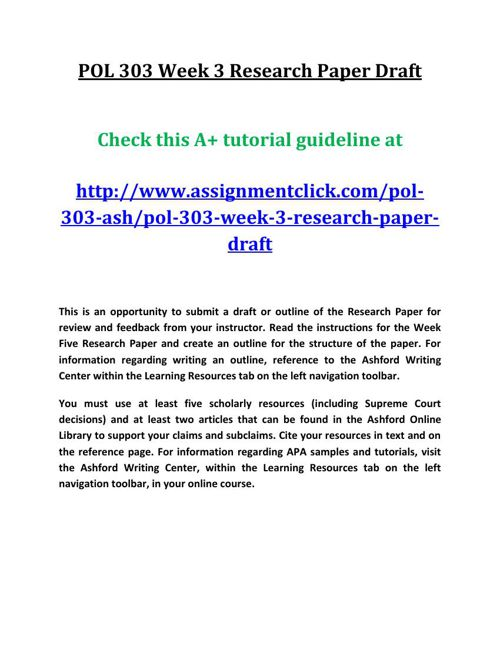 ASH POL 303 Week 3 Research Paper Draft