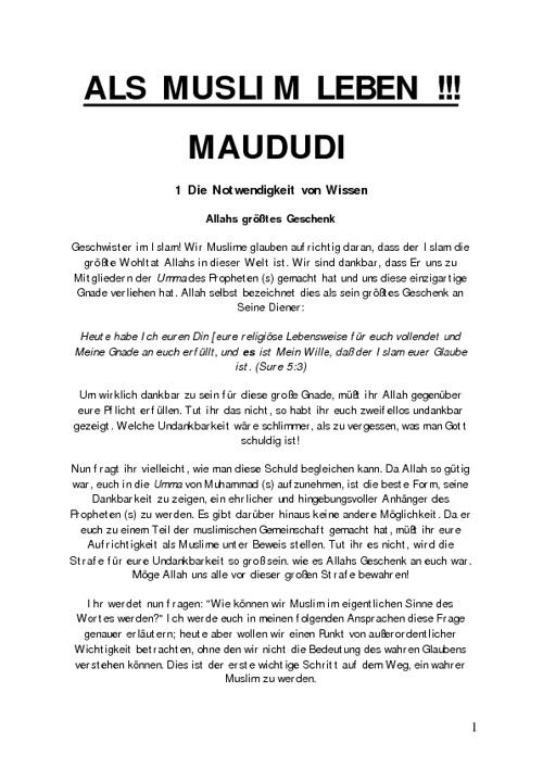 Als Muslim leben - Maududi
