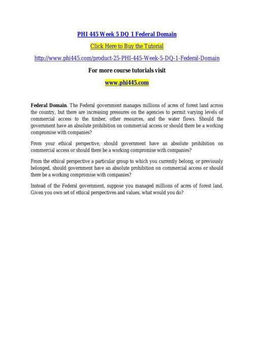PHI 445 Week 5 DQ 1 Federal Domain