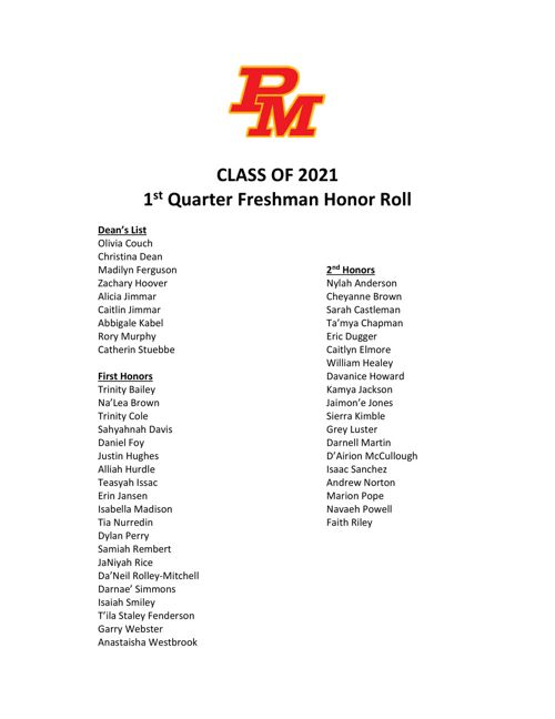 2017-18 1st Quarter Honor Roll
