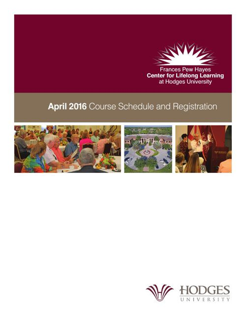 Frances Pew Hayes Center for Lifeong Learning April, 2016 Course
