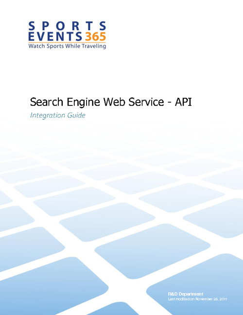 Sports Events 365 - Search Engine API