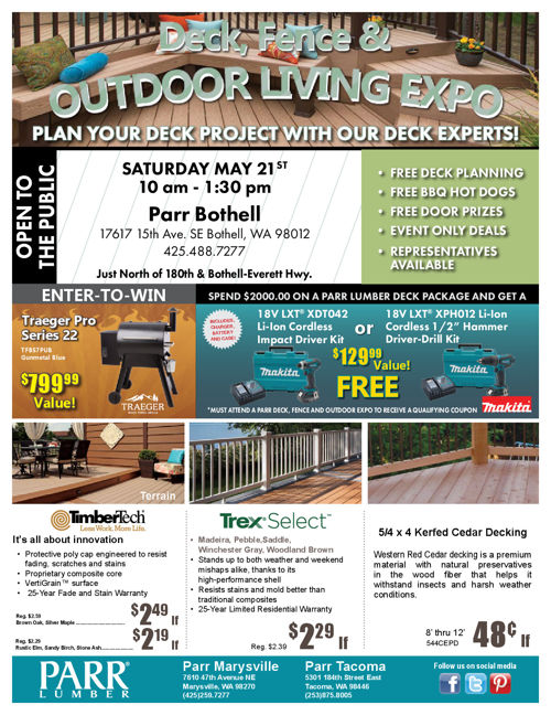 Parr Lumber May 2016 Sale - Seattle Locations