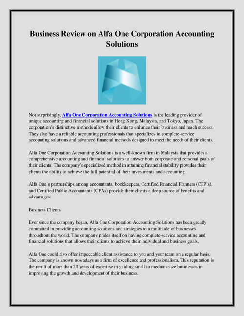 Business Review on Alfa One Corporation Accounting Solutions
