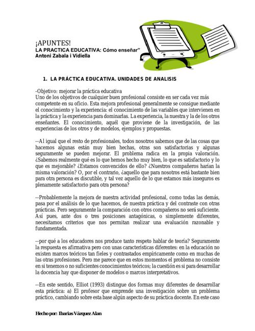 1. LA PRACTICA EDUCATIVA. UNIDADES DE ANALISIS