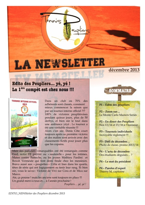 NEWSletter des Peupliers décembre 2013