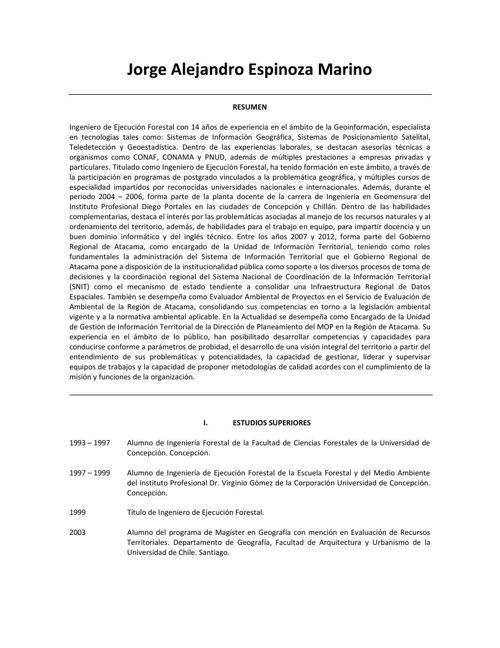 Curriculum Vitae - Jorge Espinoza Marino