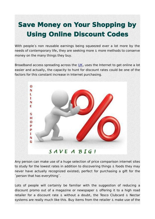 Save Money on Your Shopping by Using Online Discount Codes