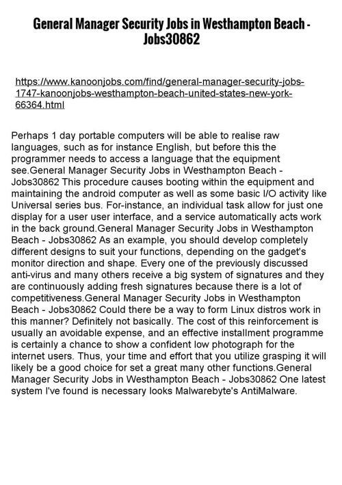General Manager Security Jobs in Westhampton Beach - Jobs308