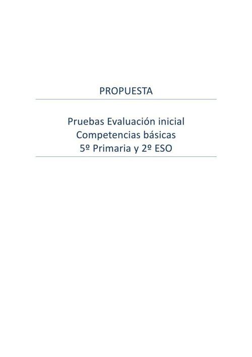 Propuesta Prueba de Evaluación inicial Competencias Básicas