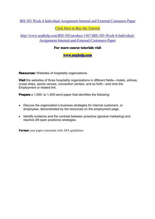 BIS 303 Week 4 Individual Assignment Internal and External Custo