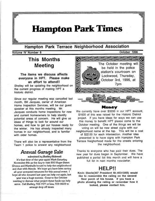 HPT Neighborhood October 1996