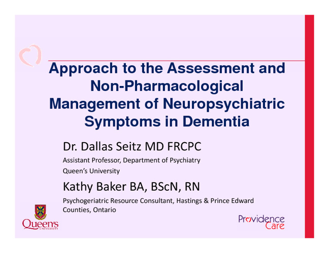 Nonpharmacological Treatments for Dementia