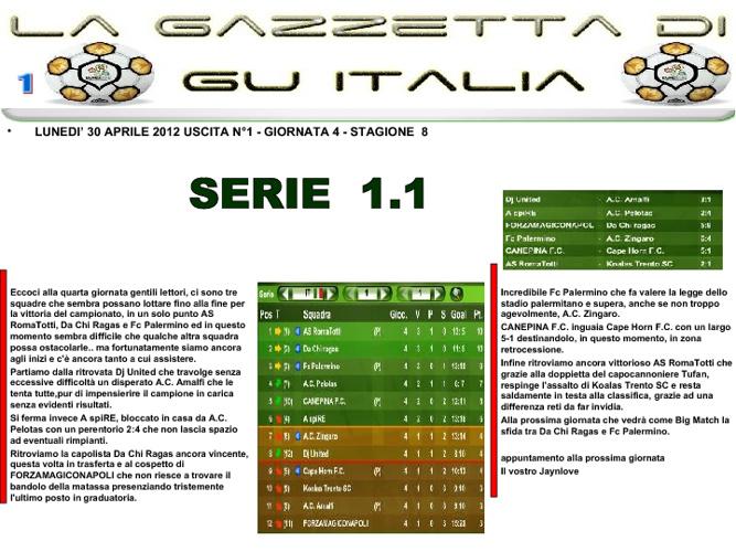 Gazzetta GU 4° GIORNATA