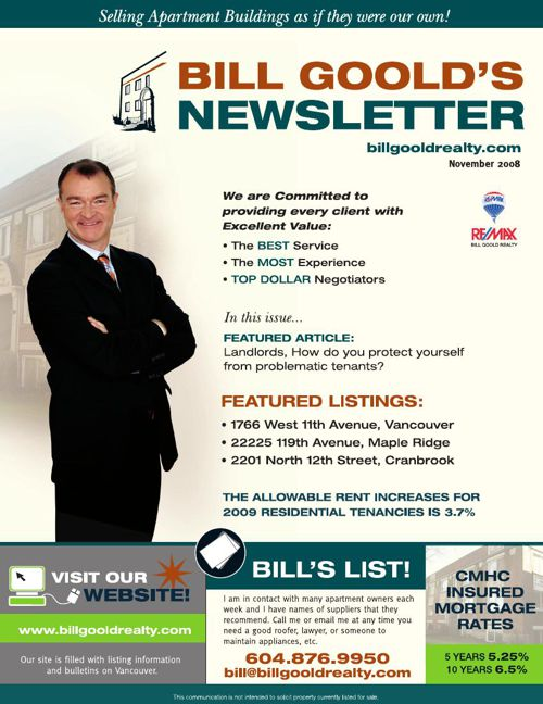 Bill Goold Newsletter Nov 2008