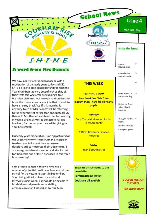 Newsletter 12th May 2014