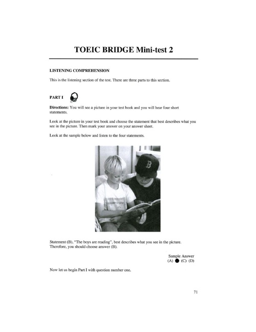 Toeic test listening comp April 29th