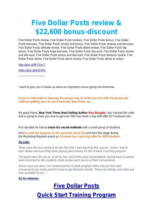 Fiver Dollar Posts review - $26,800 bonus & discount