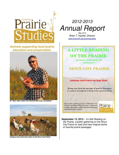 Center for Prairie Studies Annual Report