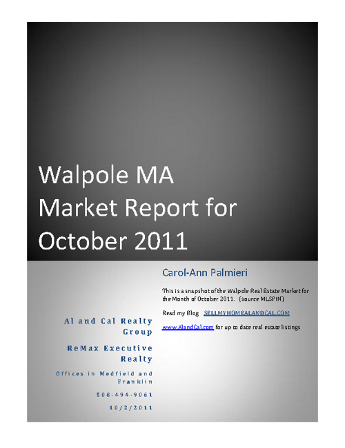 Walpole Market Report October