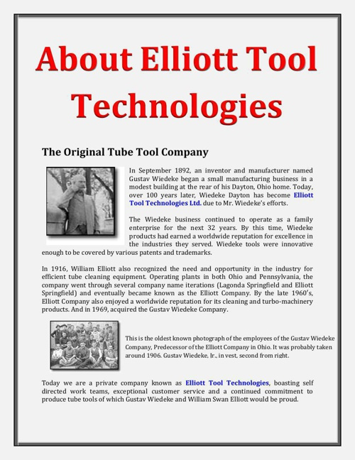About Elliott Tool Technologies