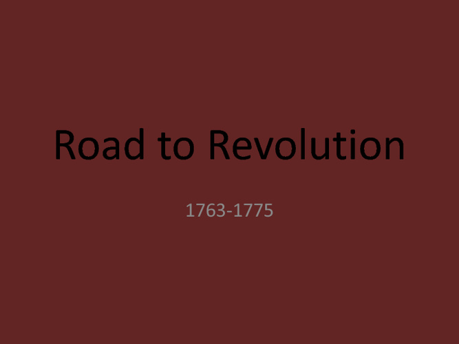 Road to Revolution Video I