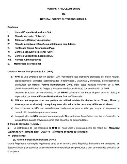 Manual de Normas y procedimientos y codigo de Etica NfN