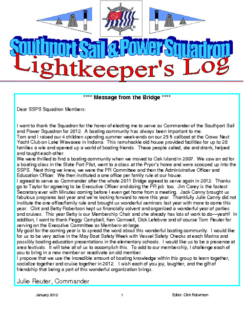Lightkeepers Log 2012
