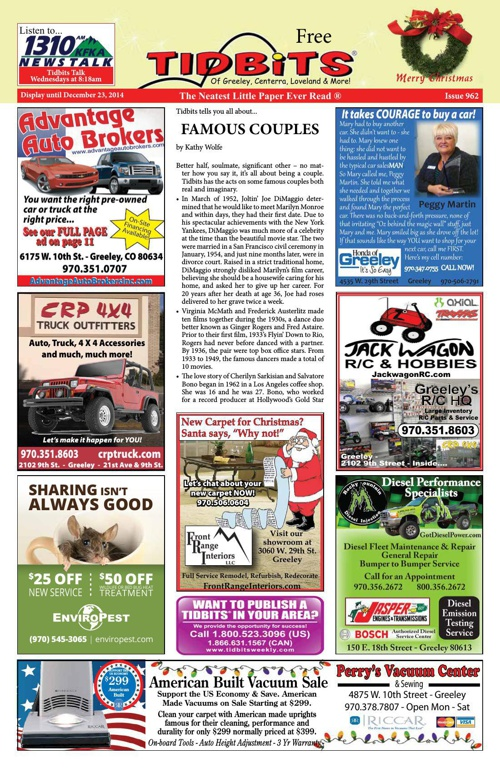 Tidbits of Greeley/Centerra/Loveland, Issue 962