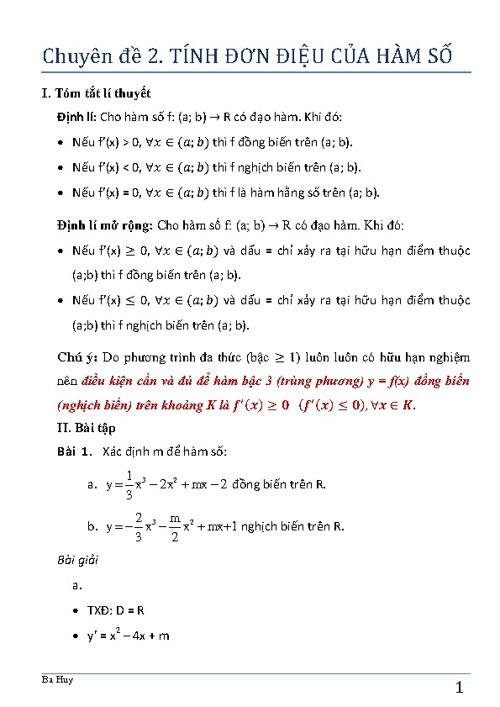 CĐ2. Tính đơn điệu của hàm số
