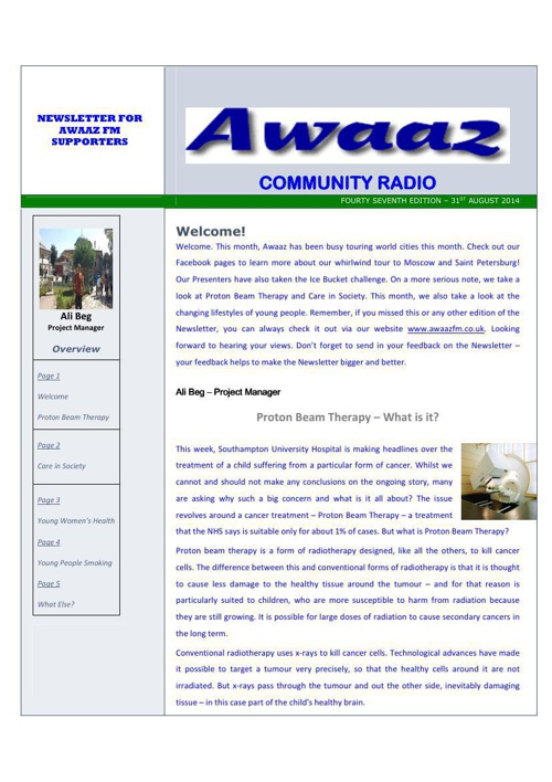 Awaaz Newsletter September 2014