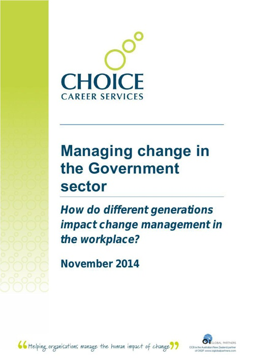 Managing change in the Gov't sector