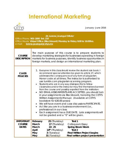 Syllabus International Mkt 2016-1