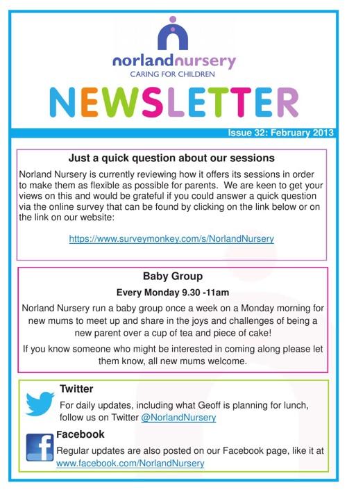 Nursery Newsletter Feb 2013