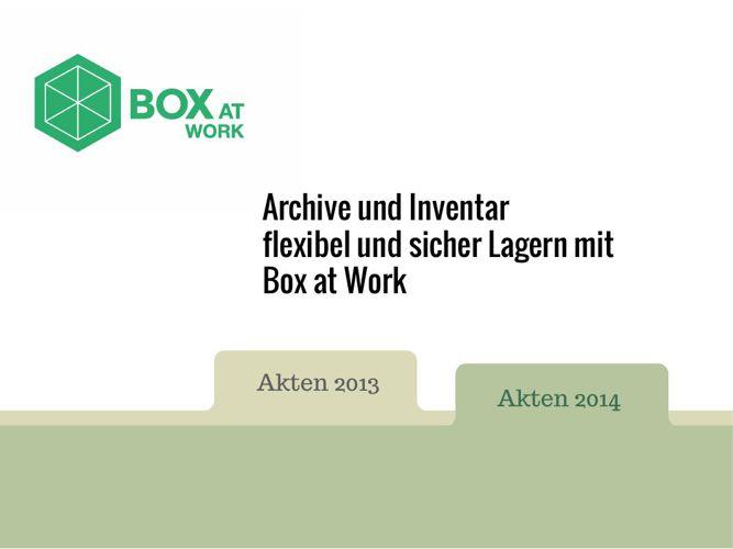 Archive und Inventarlagern mit Box at Work