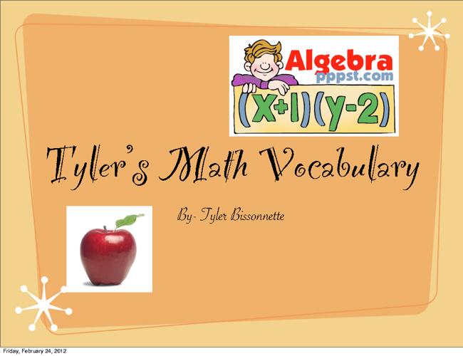 Algebra 1 Math Vocab