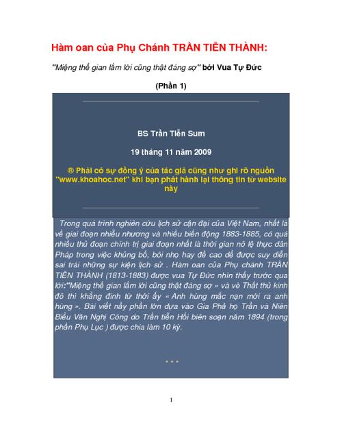 Những Bài về Phụ Chánh Trần Tiễn Thành