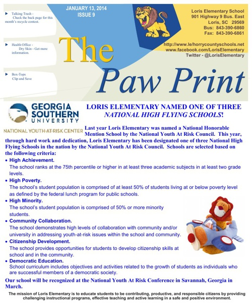 January 13, 2014 Issue IX The Paw Print